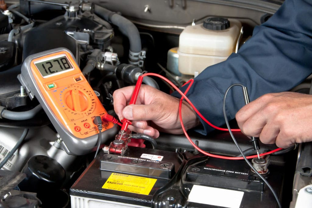 Car battery being tested