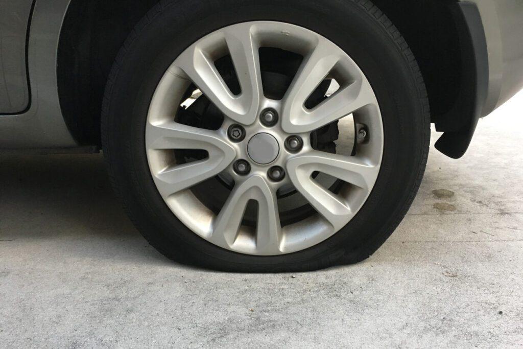 flat tire on vehicle